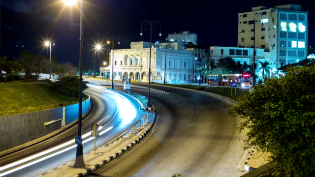 night traffic near havana tunnel entrance time lapse, havana, cuba - havana stock videos & royalty-free footage