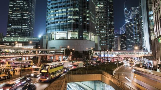 t/l tu night traffic of hong kong - crossroad stock videos & royalty-free footage