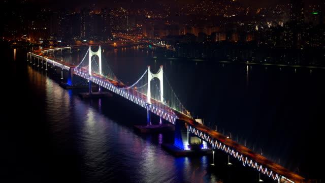 night traffic on gwangandaegyo bridge / suyeong-gu, busan, south korea - korea stock videos & royalty-free footage