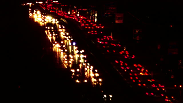 HD Night Traffic on Highway Time Lapse