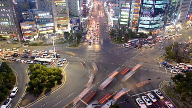 night traffic on yeonsan rotary / yeonje-gu, busan, south korea - number 5 stock videos & royalty-free footage