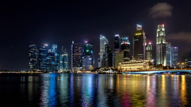 Night view across Marina Bay towards the City