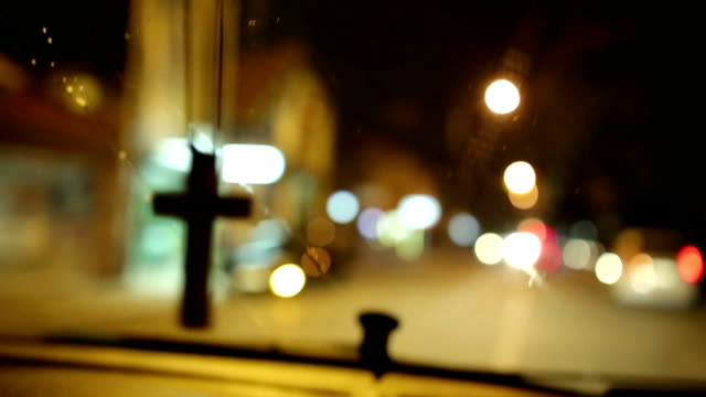night view of a car on city street - religious cross stock videos & royalty-free footage