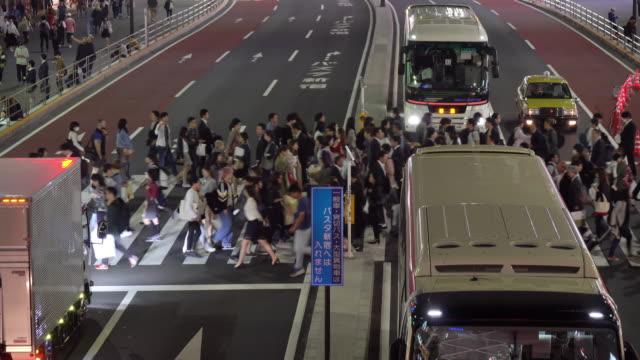 MS HA Night View of a Crossing in Shinjuku / Tokyo, Japan