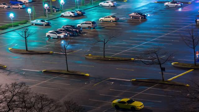 stockvideo's en b-roll-footage met night view of a parking lot - parking