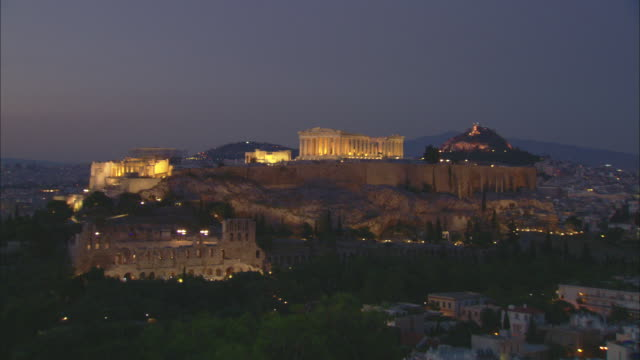 WS Night view of Acropolis of Athens / Athens, Attica, Greece