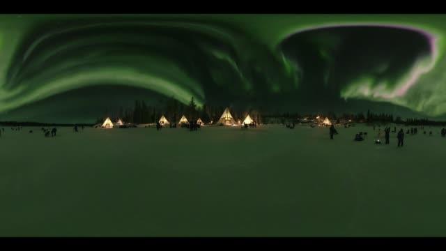 Night view of Aurora in Yellowknife, 360 VR
