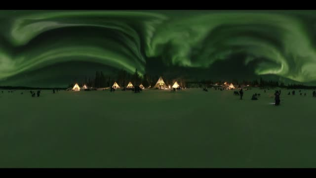 Night view of Aurora in Yellowknife, 360 VR