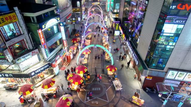 night view of biff (busan international film festival) square / jung-gu, busan, south korea - busan stock videos & royalty-free footage