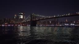 Night view of Brooklyn Bridge / New York City, USA