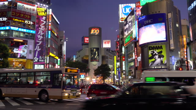 night view of busy traffic in shibuya - tokyo japan stock videos and b-roll footage