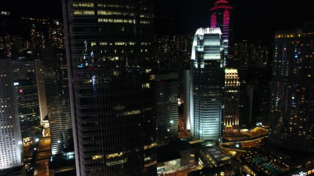 stockvideo's en b-roll-footage met night view of central district in hong kong island, china - stadsweg