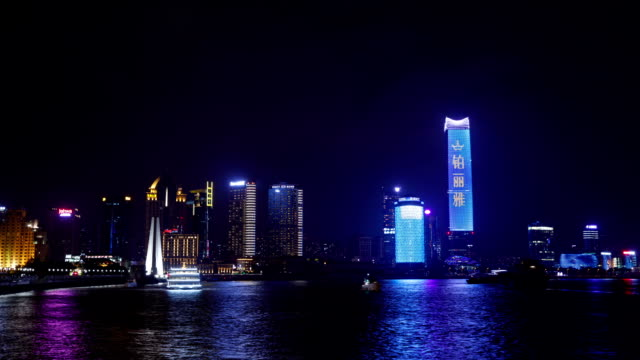 night view of city buildings and huangpu park on the huangpu river in shanghai, china - river huangpu stock videos & royalty-free footage