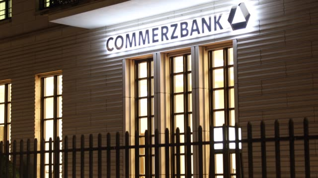 A night view of Commerzbank in Berlin Germany on February 15 2019