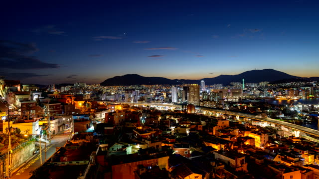 night view of downtown district in bongnae-dong, yeongdo-gu, busan - busan stock videos & royalty-free footage