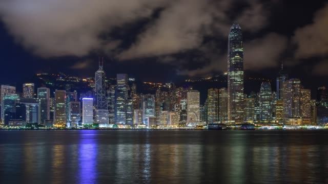 night view of downtown with cloudscape in hong kong island, hong kong - hong kong island stock videos & royalty-free footage