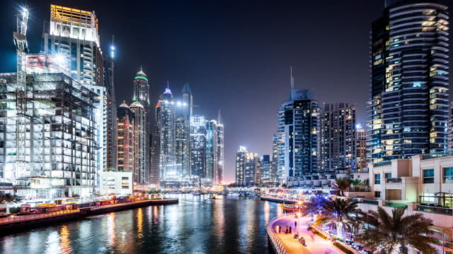 T/L WS Night View of Dubai Marina / Dubai, UAE