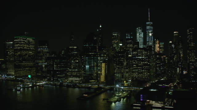 Night View Of East Side Of Downtown Manhattan In New York City