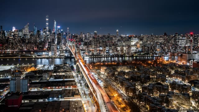 t/l ws ha night view of ed koch queensboro bridge / new york city, usa - queens new york city stock videos and b-roll footage