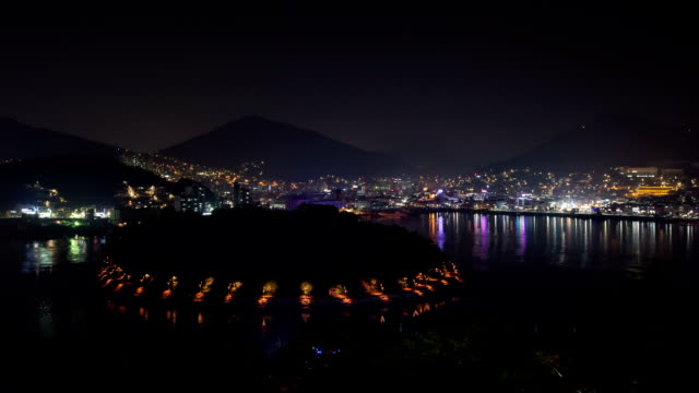Night view of ferry terminal at Janggundo Island