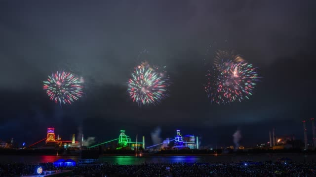 night view of fireworks festival at posco(steel mill) in pohang, north gyeongsang province - north gyeongsang province stock videos and b-roll footage