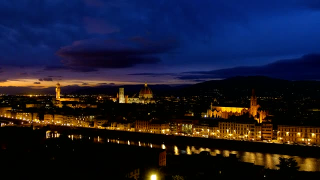 night view of florence cityscape over arno river - tuscany stock videos & royalty-free footage