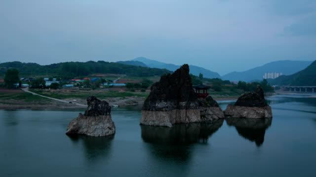 night view of gazebo at dodamsambong (dodam three hills) - gazebo stock videos and b-roll footage