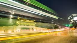 Night view of Gwanghwamun and traffic, Seoul, Korea