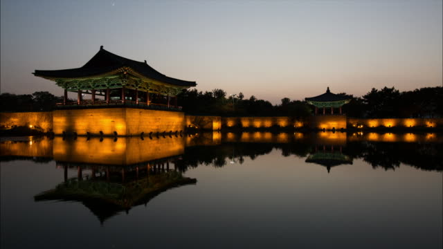 night view of gyeongju donggung palace and wolji pond (the living quarters of the crown prince of silla dynasty) in gyeongju - gyeongju stock videos & royalty-free footage