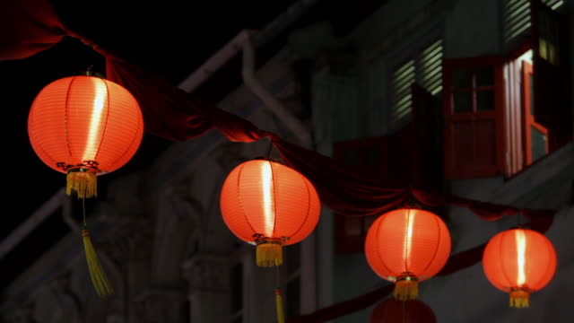 ws night view of hanging decorations for mid autumn festival / singapore - small group of objects stock videos & royalty-free footage
