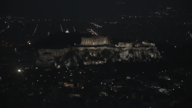 night view of illuminated acropolis, athens, attica, greece - lycabettus hill stock videos & royalty-free footage