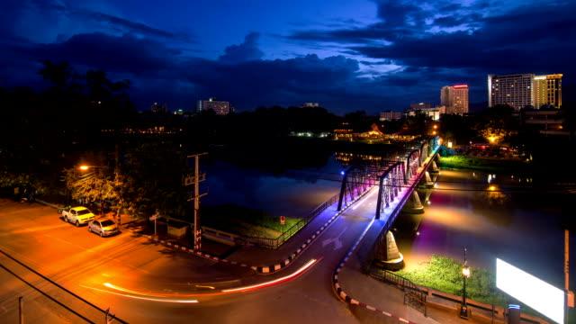 night view of iron bridge in chiang mai thailand - ironbridge shropshire stock videos & royalty-free footage