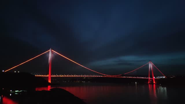 night view of istanbul yavuz sultan selim bridge. - number 3 stock videos & royalty-free footage