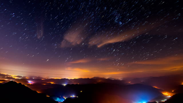 night view of janggunbong peak at juwangsan mountain (popular tourist attractions) - light trail stock videos & royalty-free footage