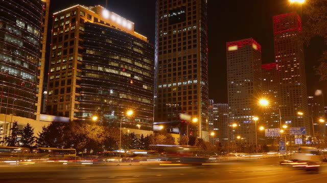Night View of Jianguo Road, Beijing, China