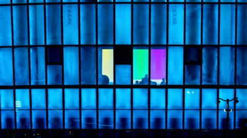 vídeos y material grabado en eventos de stock de night view of led window lighting at the sebitseom (artificial floating island in seoul) - luz led