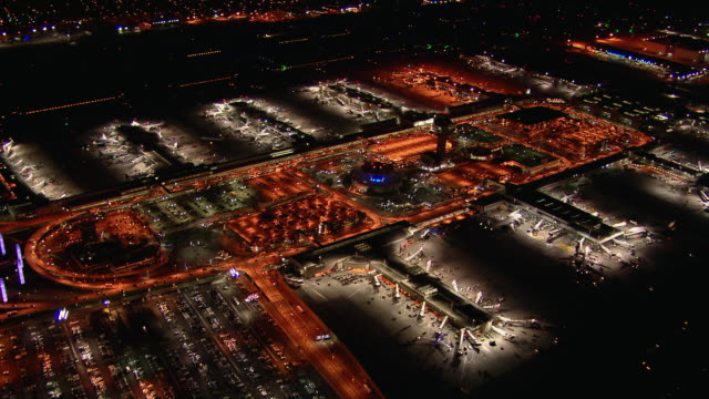 Night view of Los Angeles International Airport from the air. LAX is the primary airport serving the Greater Los Angeles area.
