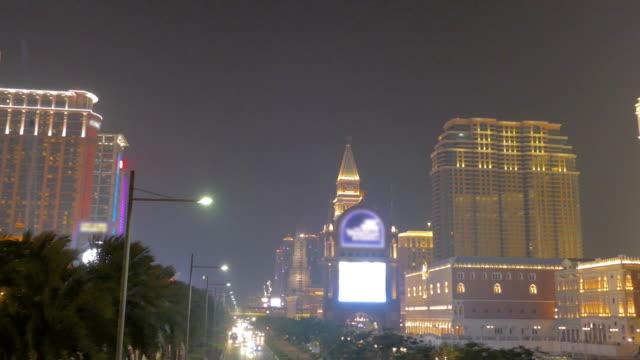 night view of macau, china - cotai strip stock videos and b-roll footage