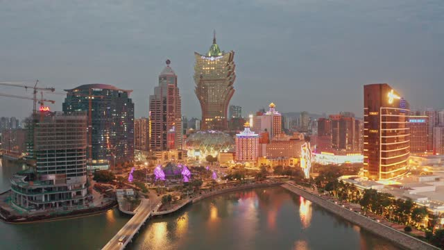 night view of macau city - macao stock videos & royalty-free footage
