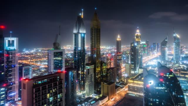 T/L WS HA PAN Night View of Modern Skyscrapers in Downtown Dubai / Dubai, UAE