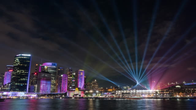 Night view of Museum of Contemporary Art Australia and Circular Quay on the ocean during Vivid Sydney Festival in Sydney, Australia