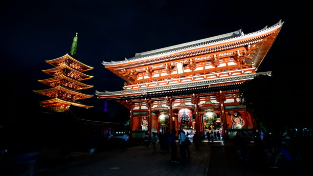 night view of nakamise-dori shopping street and seonsoji (asakusa kannon temple) in asakusa, tokyo, japan - shrine stock videos & royalty-free footage