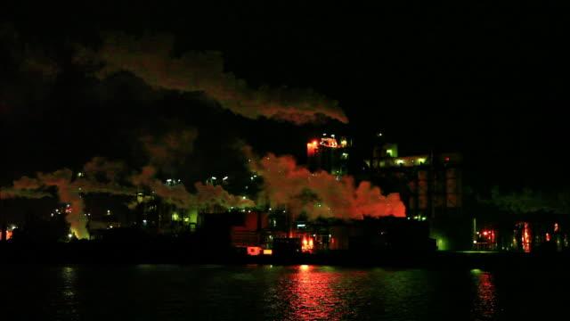 night view of nippon steel sumikin chemical kyushu works emitting billowing smokse into the night sky orange illumination colors the smoke orange... - emitting stock videos & royalty-free footage