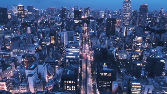 night view of office district with neon - japanese culture stock videos & royalty-free footage