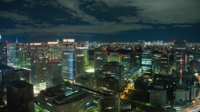 WS T/L Night view of Otemachi area / Tokyo, Japan