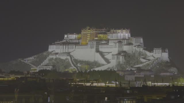 night view of potala palace tibet - tibetan plateau stock videos & royalty-free footage
