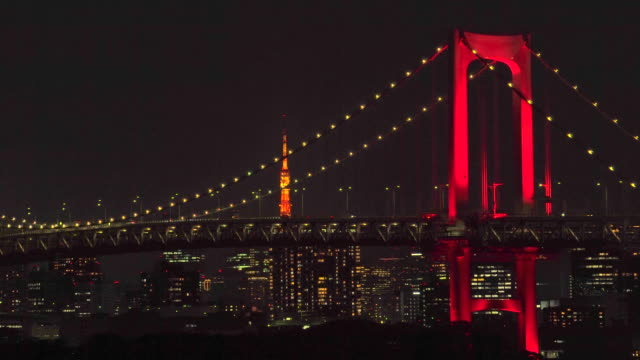 night view of rainbow bridge, illuminated in red / tokyo alert - suspension bridge stock videos & royalty-free footage