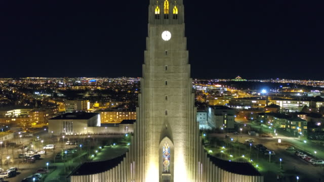 night view of reykjavik (capital city), iceland - reykjavik stock videos and b-roll footage