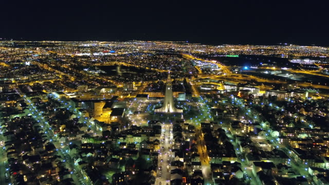 Night View of Reykjavik (Capital city), Iceland