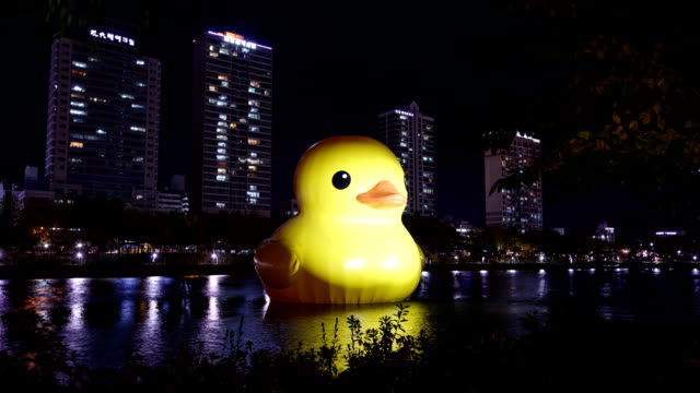 Night view of Rubber Duck (Project for healing wounds and reliving tension) on the Seokchonhosu lake at Jamsil